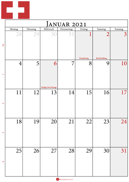 Januar 2021 Kalender Schweiz