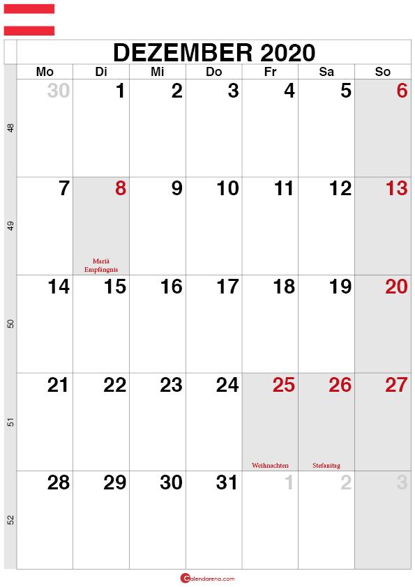 Kalender Österreich Dezember 2020 quorformat