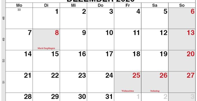 Kalender Österreich Dezember 2020 zum ausdrucken