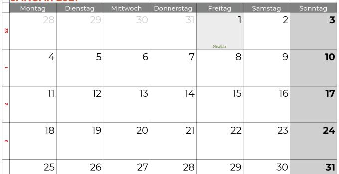 Kalender januar 2021 Niedersachsen