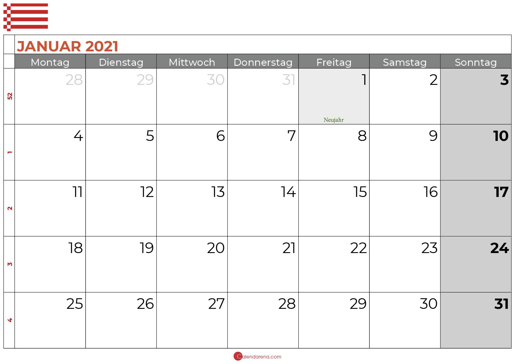 Kalender januar 2021 bremen