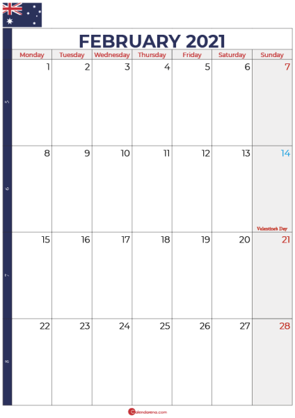 calendar february 2021 australia