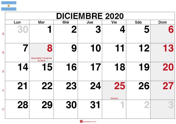calendario diciembre 2020 Argentina2