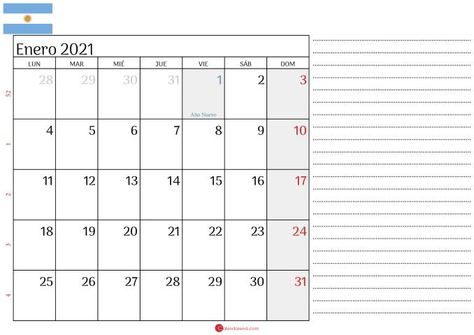 calendario enero 2021 Argentina2