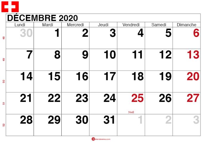 calendrier decembre 2020 Suisse_grand