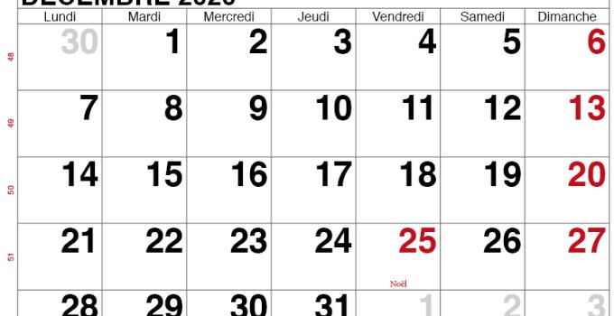 calendrier decembre 2020 belgique