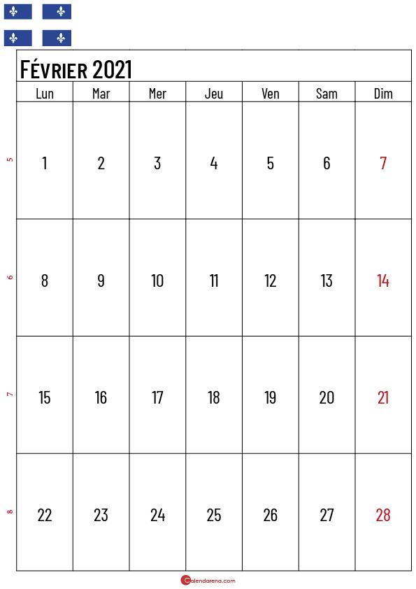 calendrier fevrier 2021 à imprimer