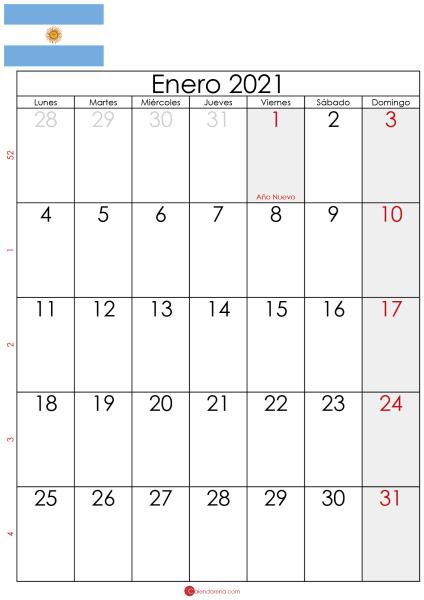 enero 2021 calendario Argentina