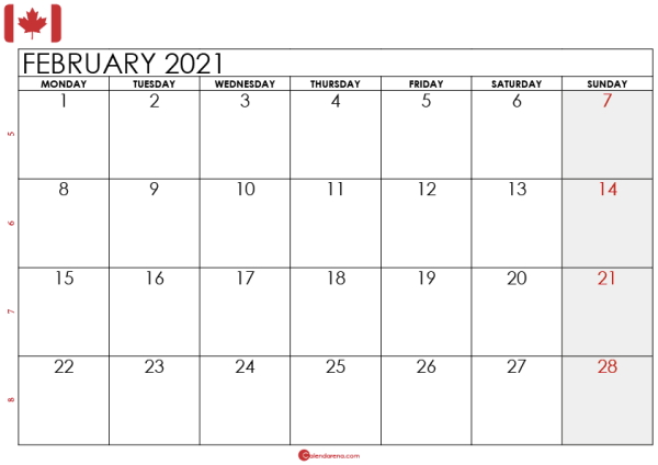 february 2021 calendar CA