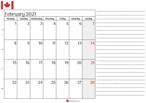 february 2021 printable calendar canada