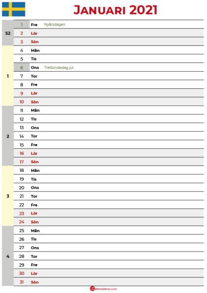 januari 2021 kalender sverige