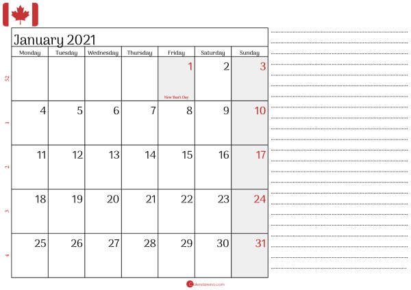 january 2021 calendar Canada with notes