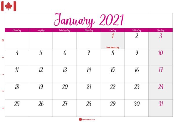 january 2021 calendar Canada