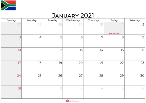 january 2021 calendar south africa_landscape
