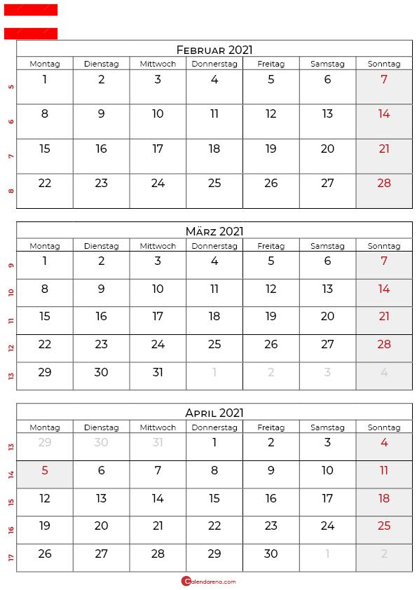 kalender februar märz april 2021 Österreich