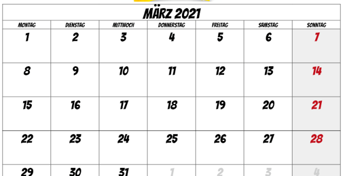 kalender märz 2021 -deutshland
