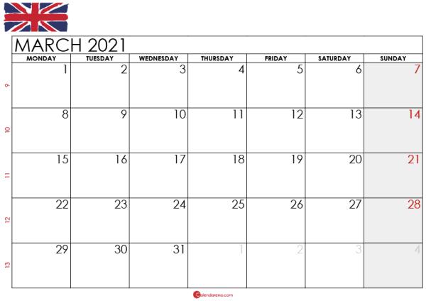 march 2021 calendar UK