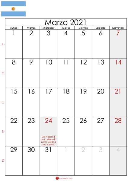marzo 2021 calendario Argentina