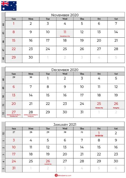 november december 2020 january calendar 2021 australia