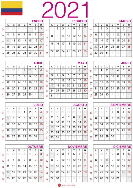 Calendario 2021 colombia