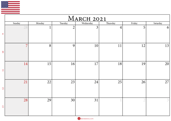calendar for march 2021