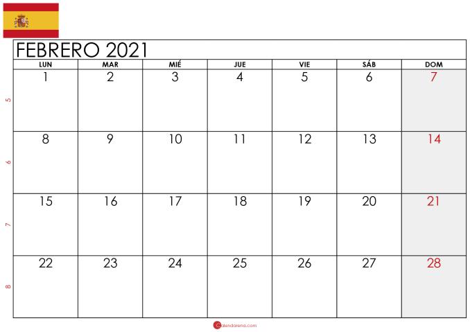 calendario febrero 2021