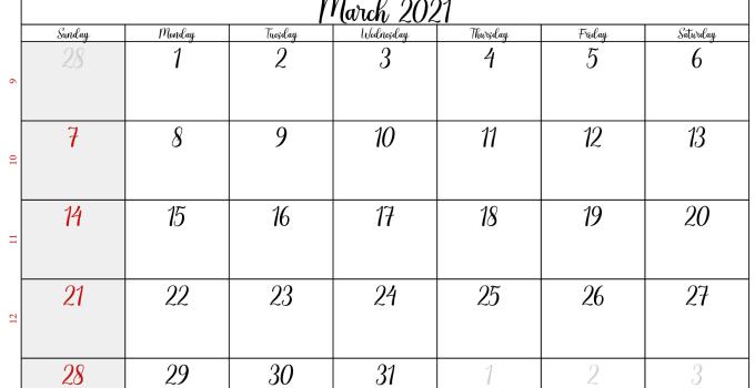 march 2021 calendar USA