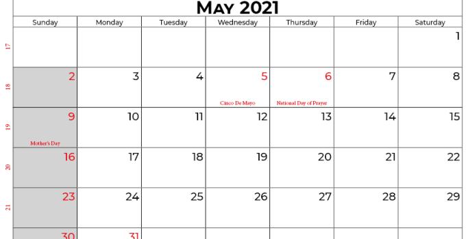 may 2021 calendar usa