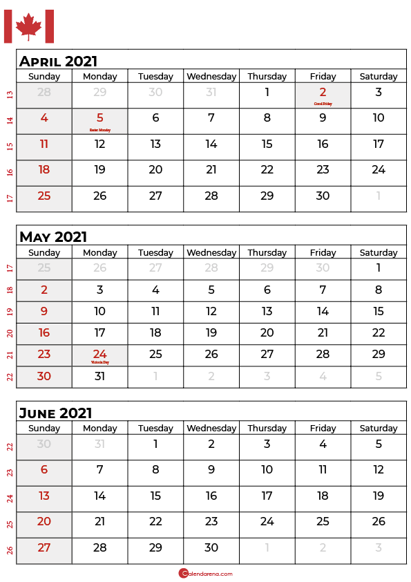 april may june 2021 calendar canada