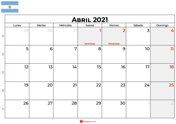 calendario 2021 abril argentina