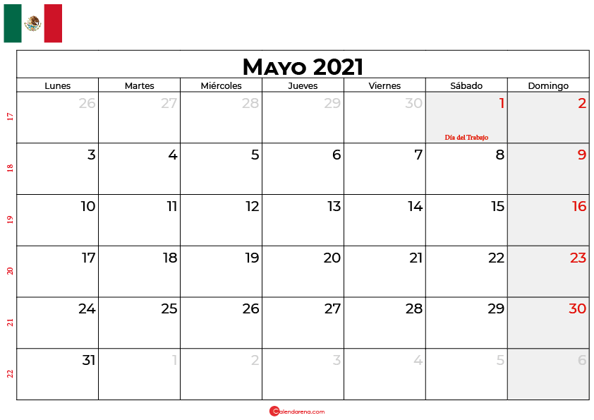 calendario 2021 mayo mexico