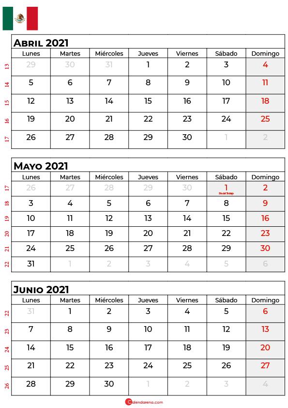 calendario abril mayo junio 2021 mexico