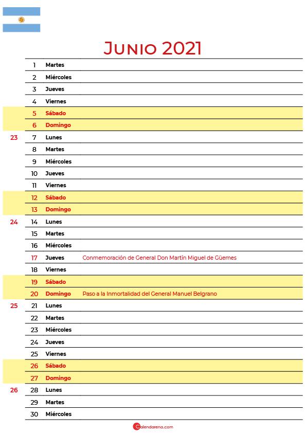 calendario de junio 2021 argentina