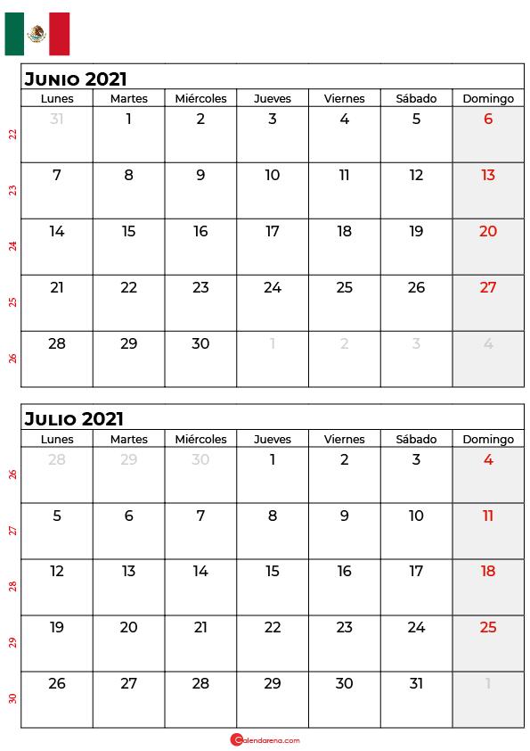 calendario junio julio 2021 mexico