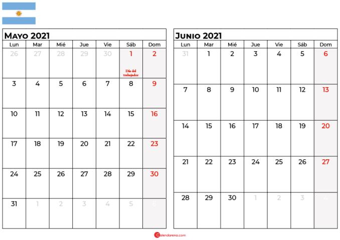 calendario mayo junio 2021 argentina
