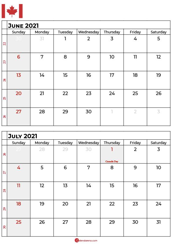 june and july 2020 calendar canada