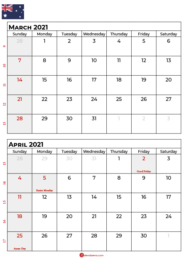 march april 2021 calendar AU