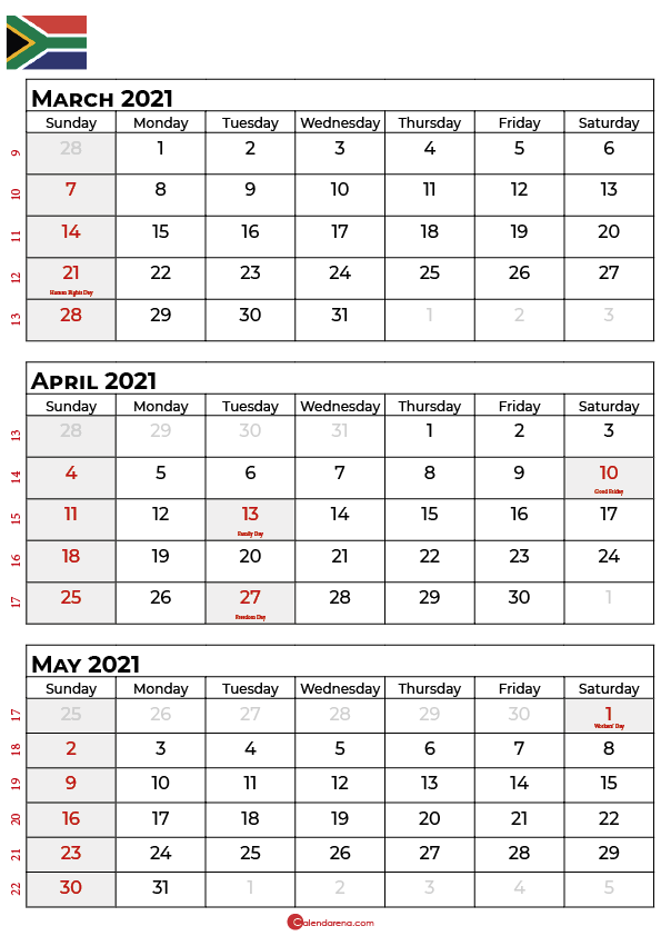 march april may 2021 calendar sa