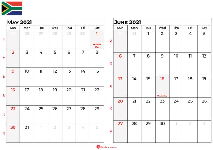 may and june 2021 calendar sa