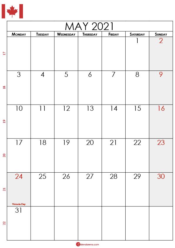 may calendar 2021 canada