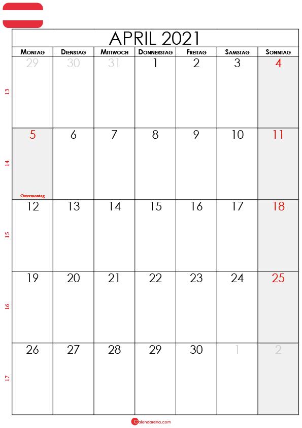 april 2021 kalender Österreich