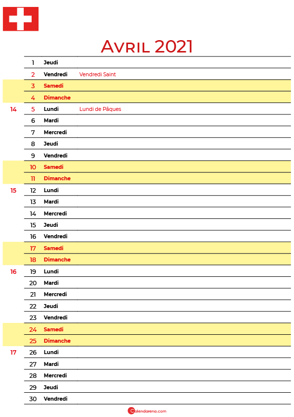 avril 2021 calendrier suisse