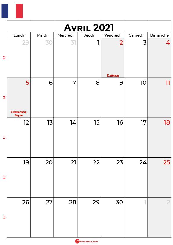 calendrier avril 2021 à imprimer france