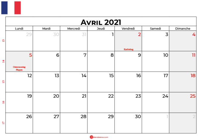 calendrier avril 2021 france