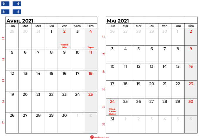 calendrier avril mai 2021 québec canada