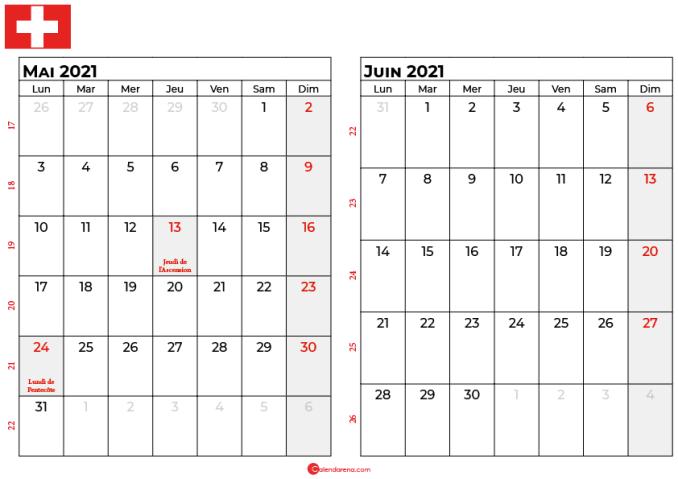 calendrier mai juin 2021 suisse