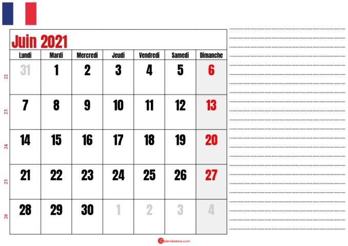 juin calendrier 2021 france
