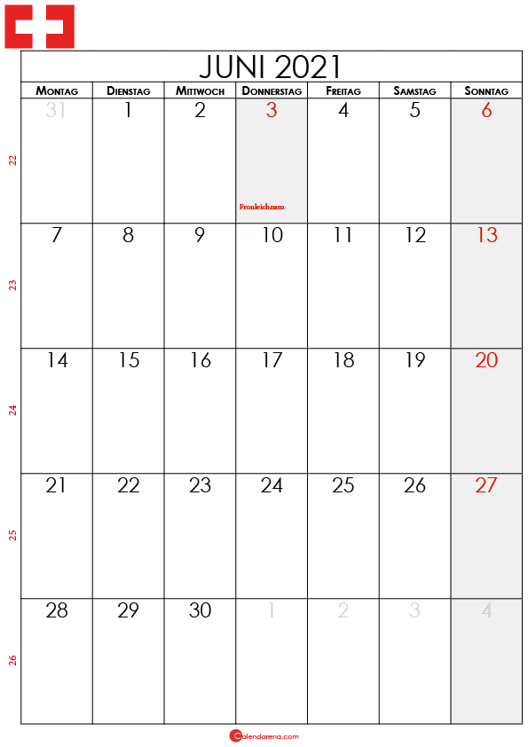 juni 2021 kalender Schweiz