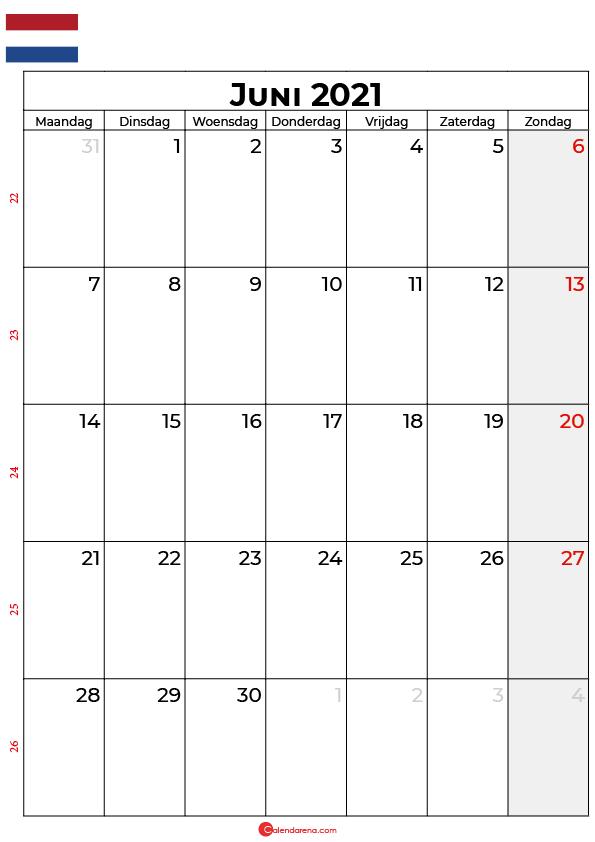 kalender 2021 juni nederland