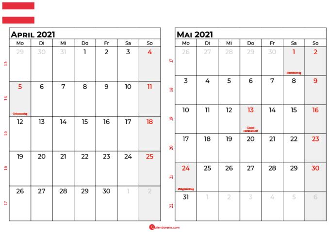 kalender april mai 2021 Österreich